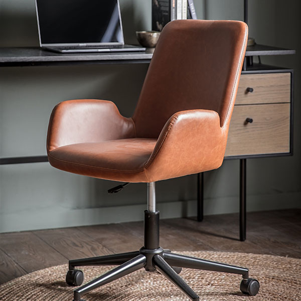 Gallery Direct Curie Antique Ebony Leather Swivel Chair
