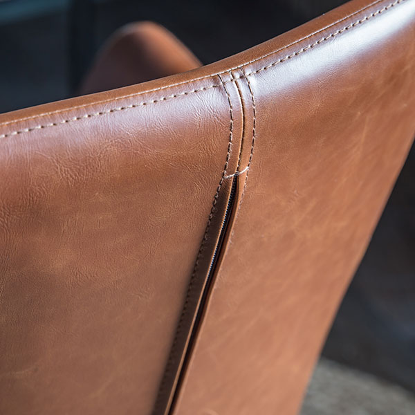 Close up  image showing the back of the Gallery Direct Faraday Brown Swivel Chair