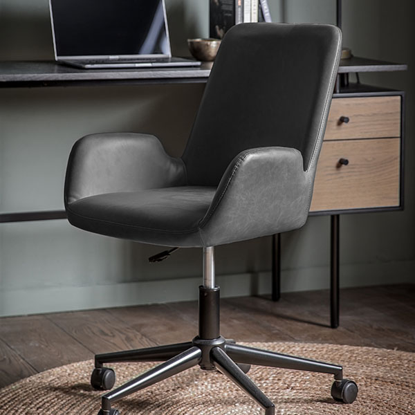 Gallery Direct Faraday Charcoal Swivel Chair