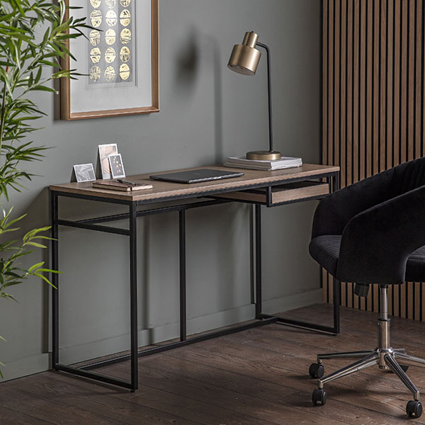 Gallery Direct Forden Grey Desk & Murray Charcoal Swivel Chair