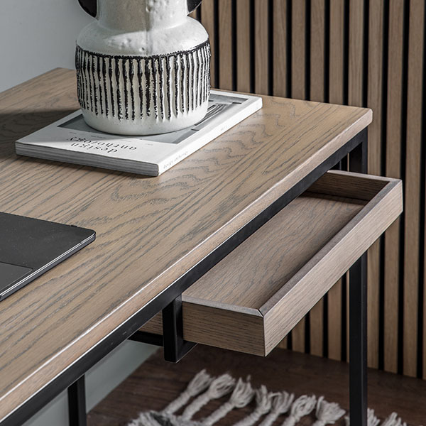Gallery Direct Forden Grey Desk - Close up image showing the drawer on the Forden desk