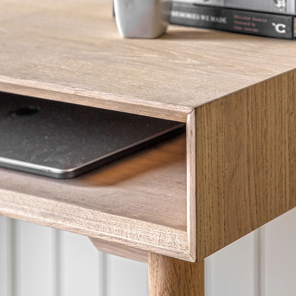 Close up image showing the open shelf space on the right hand side uder the Gallery Direct Milano 1 Drawer Desk