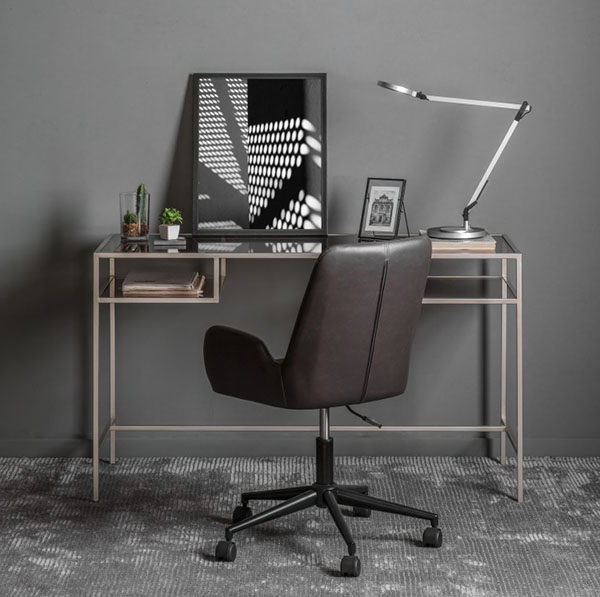 Gallery Direct Rothbury Silver Desk & Mendel Charcoal Swivel Chair