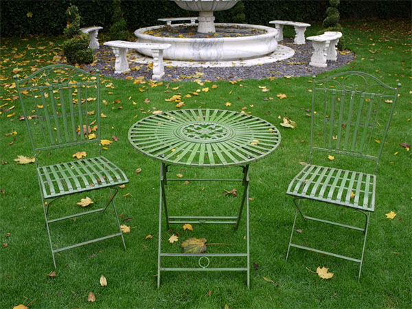 Antique Green Round Metal Garden Table & 2 Chairs Set