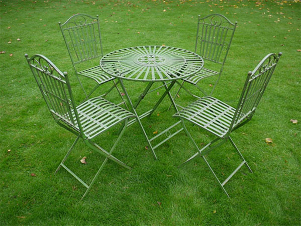 Antique Green Metal Round Garden Table & 4 Chairs Set