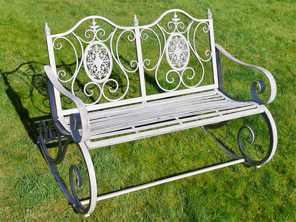 Antique Grey Metal Swirl Garden Rocking Bench