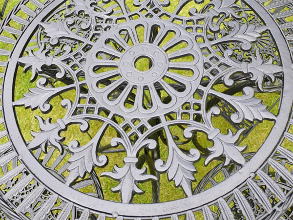 Black Metal Round Garden Table - Close up image looking down onto the table top