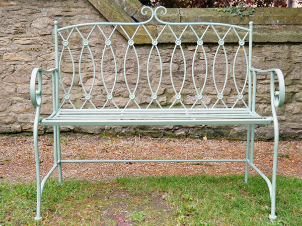 Pistachio Green Button Metal Garden Bench