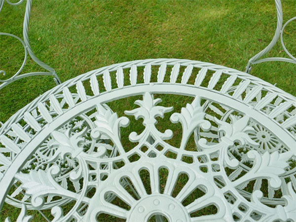 Pistacchio Green Metal Round Garden Table - Close up image looking down onto the table top
