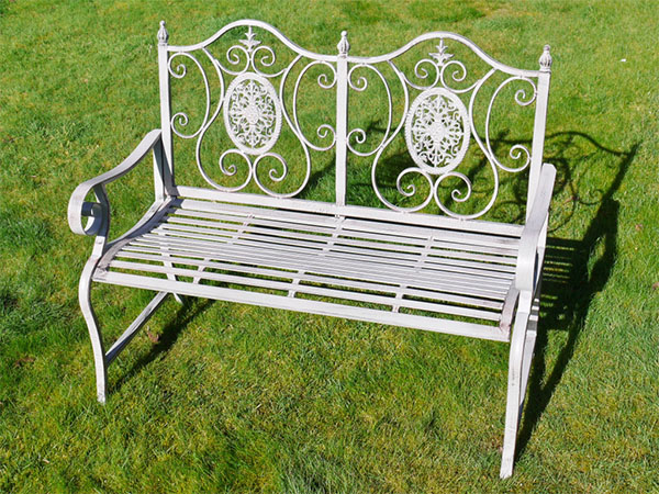 Antique Grey Metal Swirl Garden Bench