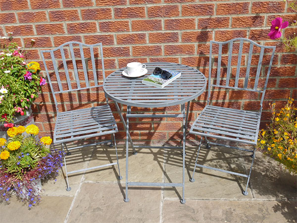 Industrial Grey Round Metal Garden Table & 2 Chairs Set