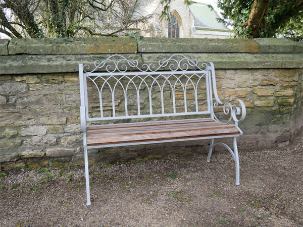 Antique Grey Iron / Fir Wood Garden Bench