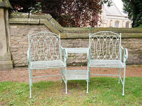 Pistachio Green Lovers Metal Garden Bench