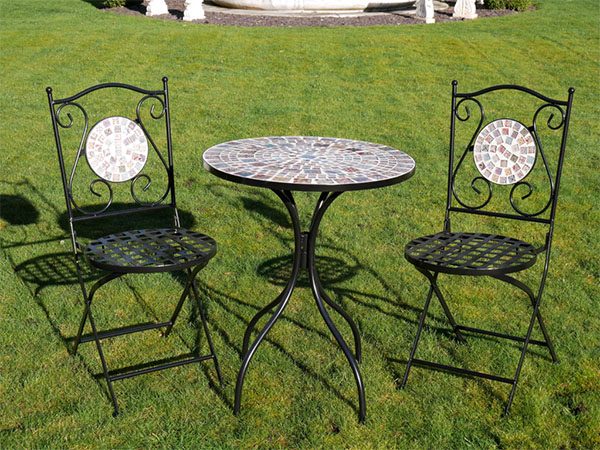 Mosaic Glass / Metal Round Garden Table & Chairs Set
