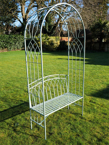 Olive Green Metal Garden Arch and Seat
