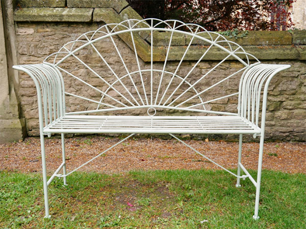 Pistachio Green Sunrise Metal Garden Bench