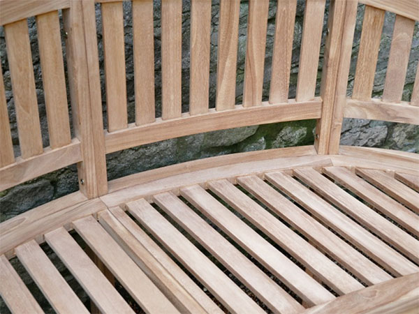 Teak Bean Garden Bench - Close up image
