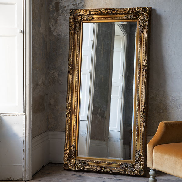 Gallery Direct Gold Carved Louis Leaner Mirror