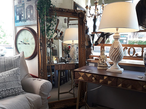 Gallery Direct Gold Carved Louis Leaner Mirror on display in our Southport furniture showrooms