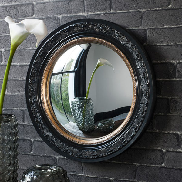 Gallery Direct Langford Convex Black / Gold Wall Mirror