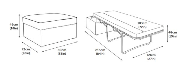 Jay-Be Footstool Bed Product Dimensions
