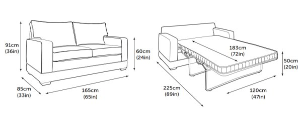 Jay-Be Modern Sofa Bed Product Dimensions