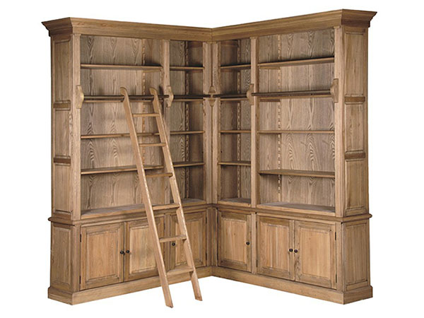 Burford Large Ash Corner Library Bookcase with Ladder