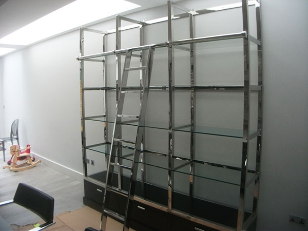 Peckham Large Contemporary Chrome / Black Shelving / Bookcase Unit in a customer's home