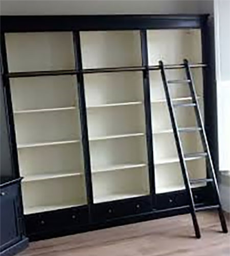 Stanton Black Large Library Bookcase with Ladder