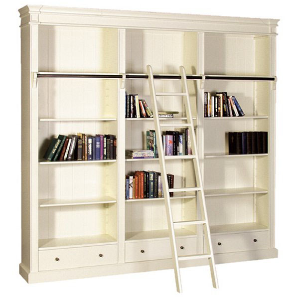 Stanton Cream Large Library Bookcase with Ladder