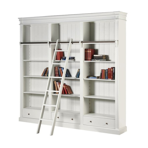 Stanton White Large Library Bookcase with Ladder