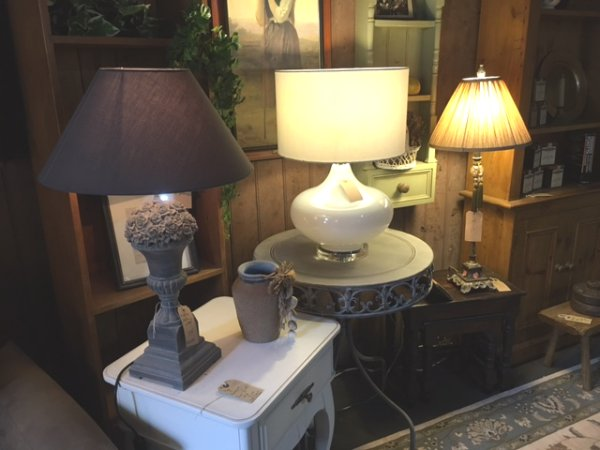 Edison Vintage Lighting Contemporary Round White Table Lamp with White Shade on display in our Southport showrooms
