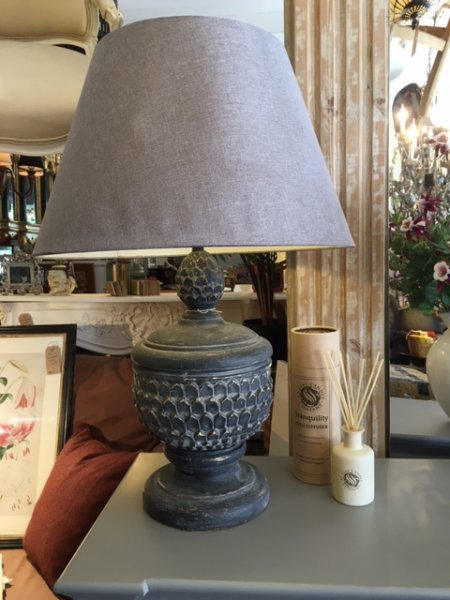 Edison Vintage Lighting contemporary style acorn table lamp with shade shown here on display in our Southport furniture showrooms