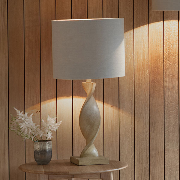 Gallery Direct Argenta Table Lamp with Natural Linen Fabric Shade