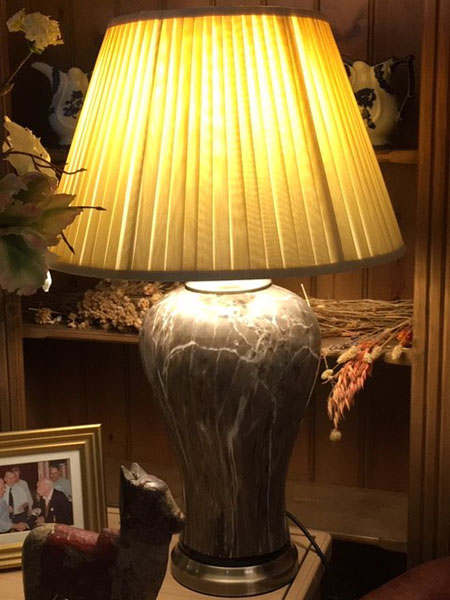 Edison Vintage Lighting Classic Brown Marble Table Lamp with Gold Shade on display in our Southport furniture showrooms