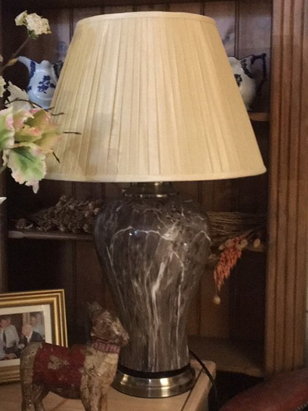 Edison Vintage Lighting Classic Brown Marble Table Lamp with Gold Shade on display in our showrooms