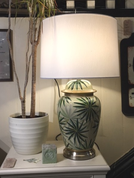 Contemporary Leaf Table Lamp with Shade on display in our showrooms