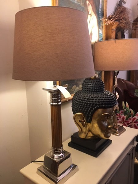 Edison Vintage Lighting Nickel / Wood Table Lamp with Shade on display in our showrooms