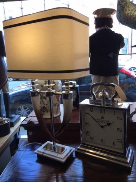 Edison Vintage Lighting Twin Horn Table Lamp with Shade on display in our Southport furniture showrooms