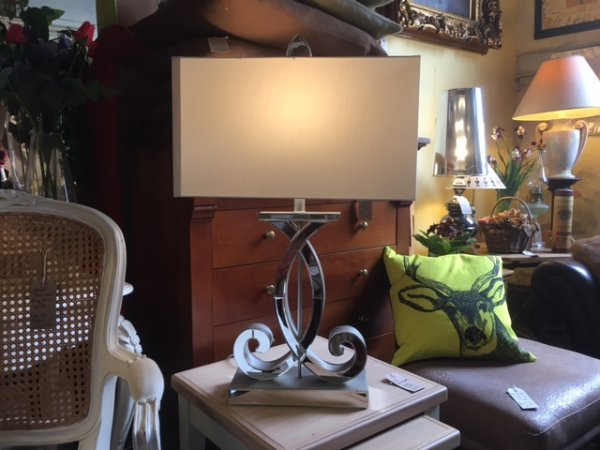 Edison Vintage Lighting Contemporary Curl Table Lamp with White Rectangular Shade on display in our showrooms