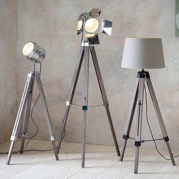Gallery Direct Dalton Floor Standing Lamp alongside 2 other tripod style floor standing lamps
