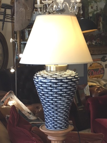 Edison Vintage Lighting Contemporary Deep Blue Sea Fish Table Lamp With Shade on display in our showrooms