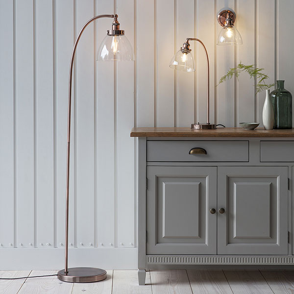 Gallery Direct Hansen Aged Copper Floor Standing Lamp shown alongside other pieces from Gallery Direct