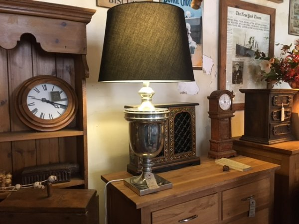 Edison Vintage Lighting Large Nickel Finish Urn Table Lamp with Shade on display in our Southport furniture showrooms