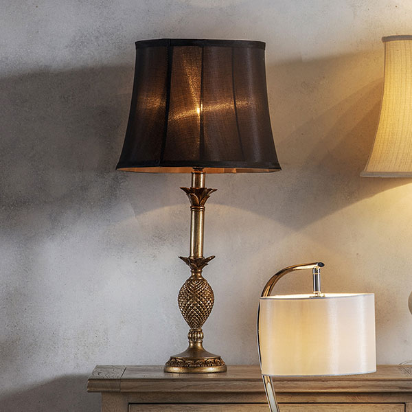 Gallery Direct Martino Table Lamp with Black Drum Shade