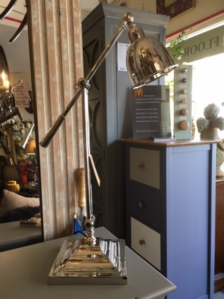 Slim nickel angled desk lamp on display in our Southport furniture showrooms