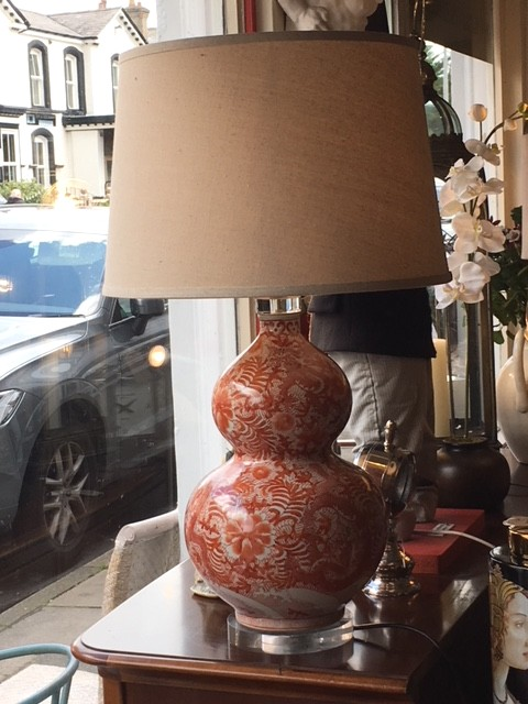 Oriental Burnt Orange Bulbous Patterned Table Lamp With Shade - On display in our Southport furniture showrooms