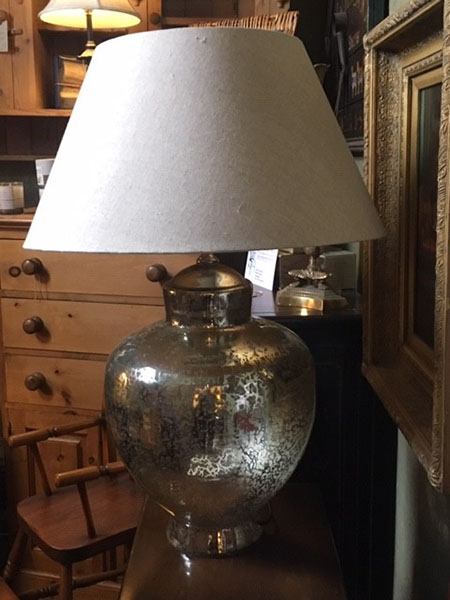 Edison Vintage Lighting Contemporary Silver Finish Table Lamp With Beige Shade on display unlit in our showrooms