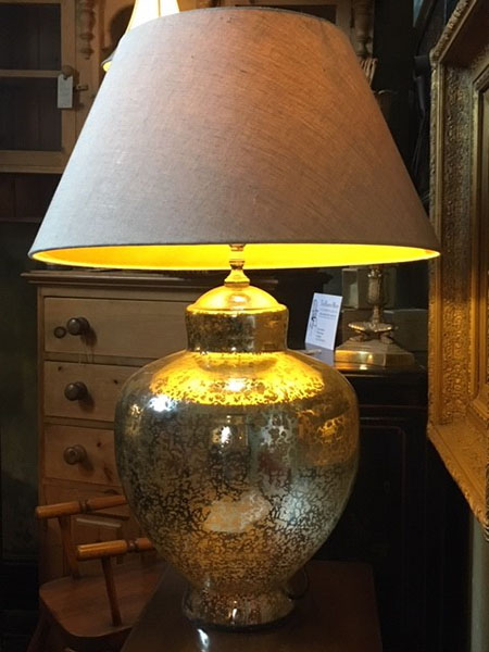 Edison Vintage Lighting Contemporary Silver Finish Table Lamp With Beige Shade on display in our showrooms