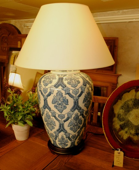 Edison Vintage Lighting White / Blue Pattern Ceramic Table Lamp with Shade on display in our showrooms